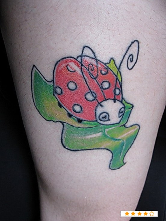 Dreamcatcher Green Black And Red Color Ink Lady Bug Tattoo On Thigh For Girls