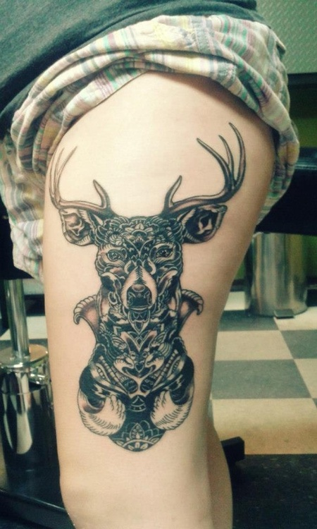 Elegant Black Color Ink Black Deer Tattoo On Thigh For Girls