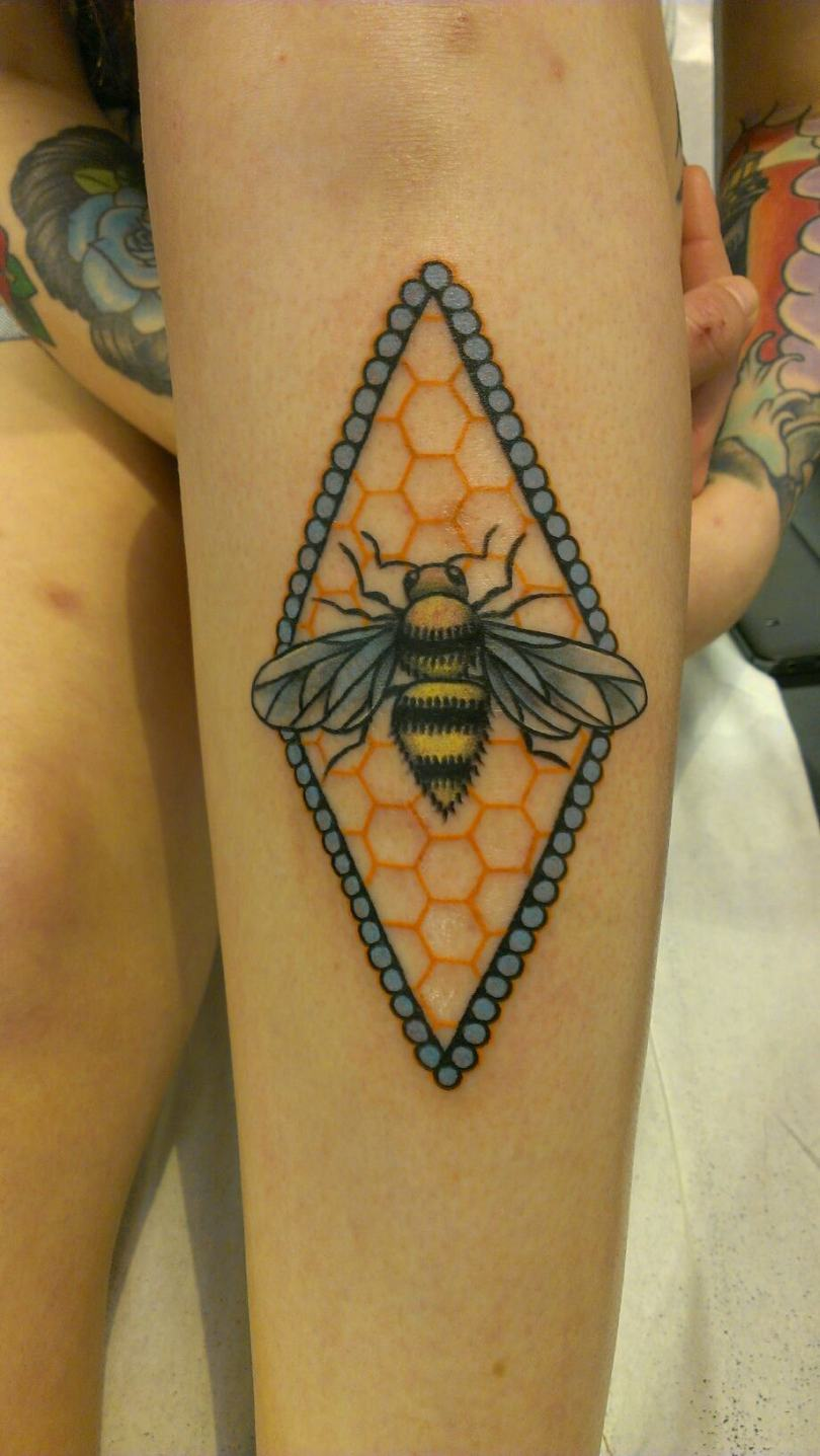 Elegant Blue Black And Yellow Color Ink Bumblebee Tattoo On Arm For Girls