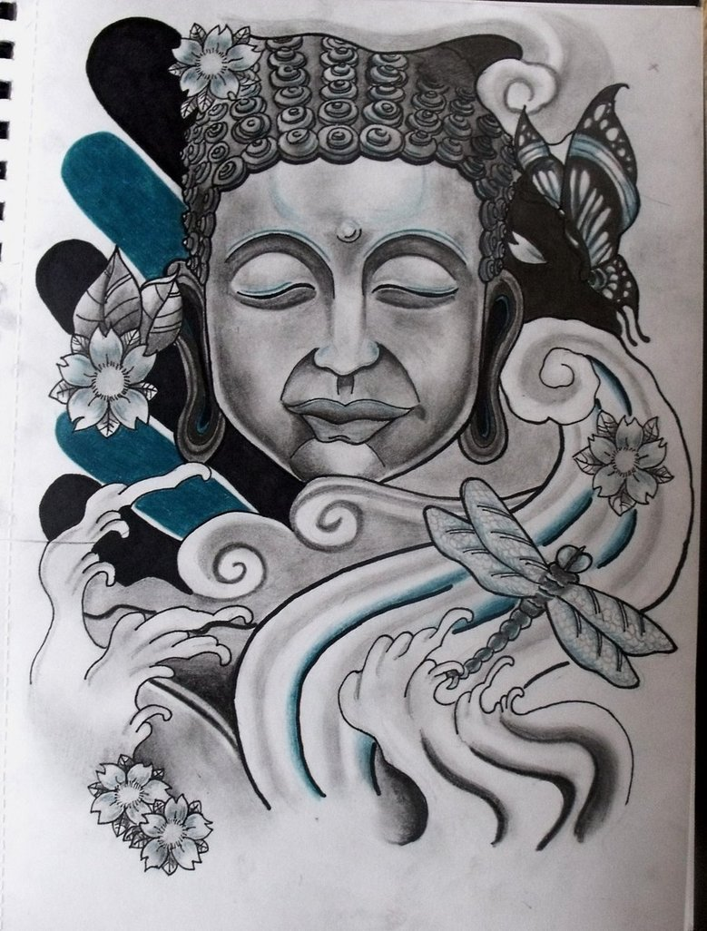 Elegant Blue Black And white Color Buddhist Tattoo Design For Boys