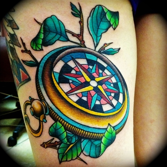Elegant Blue Yellow Green And Black Color Ink Compass Tattoo For Girls