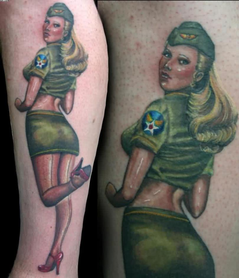 Elegant Green And Blue Color Ink Amanda West Army Pin Up Girl Tattoo On Leg