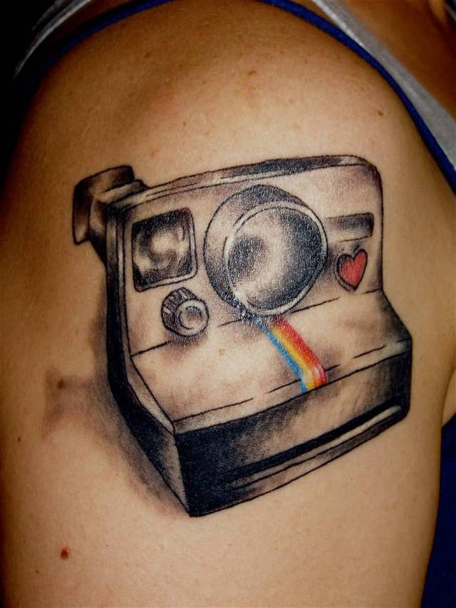 Elegant Yellow Black And Red Color Ink One Shot Polaroid Camera Tattoo On Biceps For Girls
