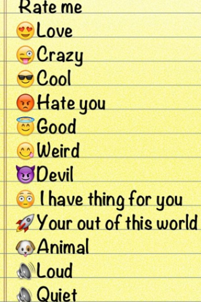 Emoji Quotes Rate me love crazy cool hate you good weird devil i have thing for you your out of this world