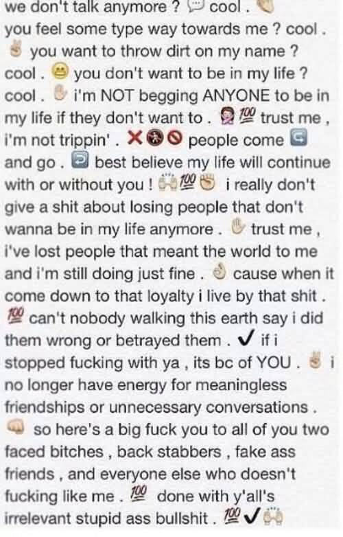 Emoji Quotes We don't talk anyone cool you feel some type way towards me cool you want to throw