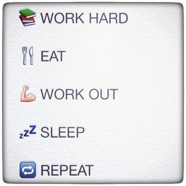 Emoji Quotes Work hard eat work out sleep repeat