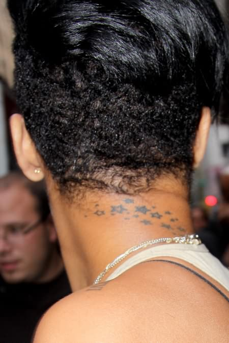 Extremely Grey Color Ink Rihanna Tattoo Design On Neck Back For Boys