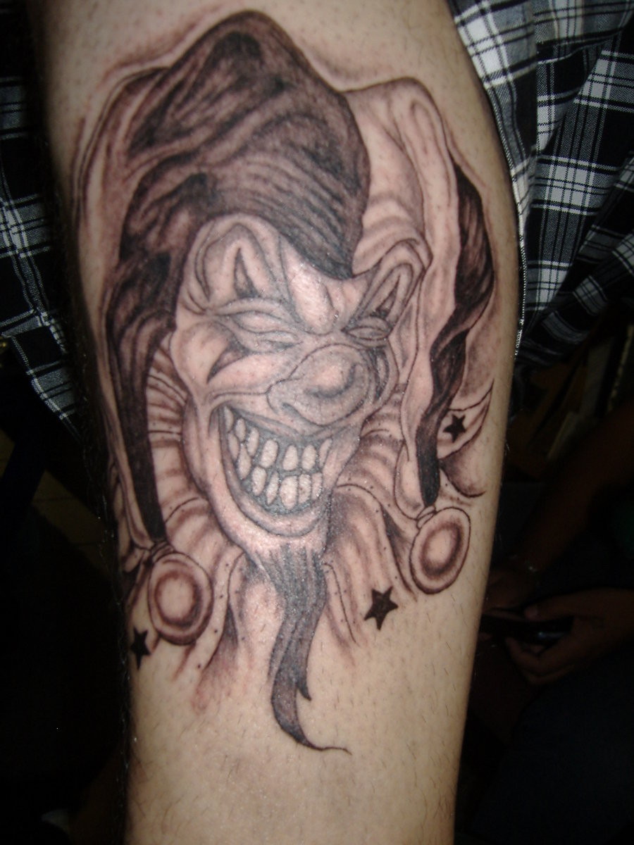 77c742cb5 Extremely Red And Black Color Ink Joker Clown Face Tattoo Design For Girls