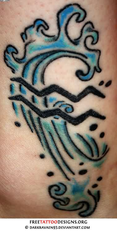 Fabulous Black And Blue Color Ink Aquarius Wave Tattoo For Girls