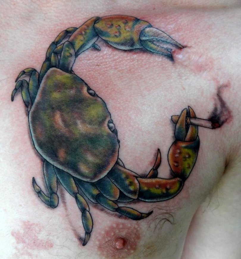 Fabulous Blue Green Red And Black Color Ink Smoking Crab Tattoo On Chest For Boys