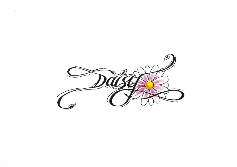 Fabulous Pink And Black Color Ink Daisy Flower Tattoo Sample For Girls
