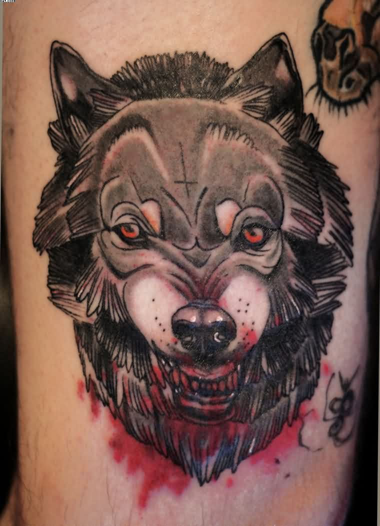 Face Tattoo Of A Wolf With Full Of Blood For Everybody