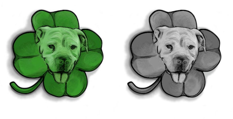 Famous Black And Green Color Ink Dog Face Clover Tattoo Design For Girls