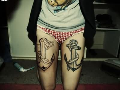 Famous Black Color Ink Anchor Tattoo On Both Thigh For Girls