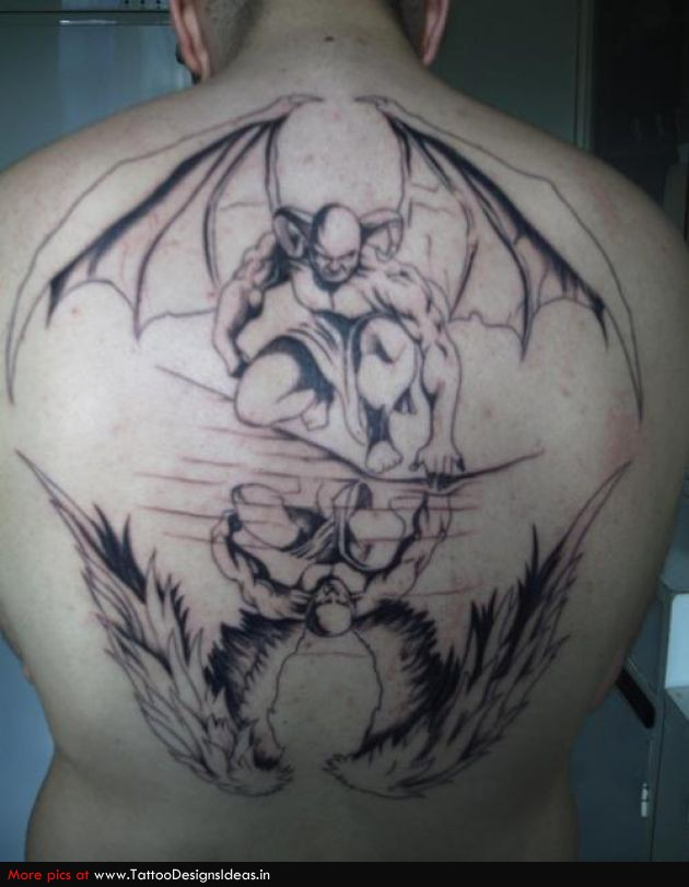 Famous Black Color Ink Angel Vs Demon Tattoo On Back For Boys