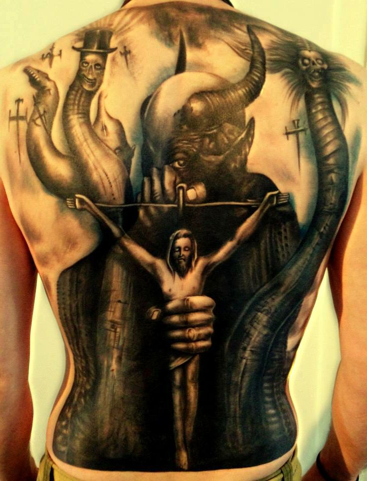 Famous Black Color Ink Jesus n The Devil Tattoo On Back For Boys