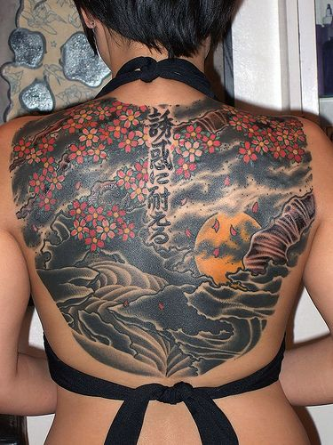 Famous Black Red Color Ink Asian Art Tattoo On Back For Girls