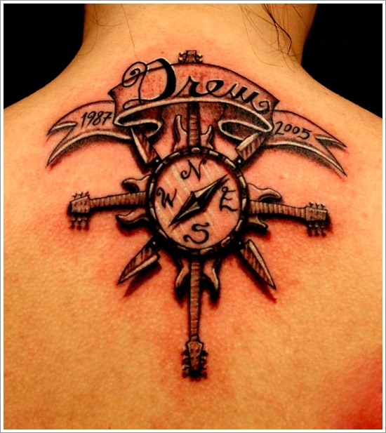 Fantastic Black And Red Color Ink Memorial Compass Tattoo On Upper Back For Girls
