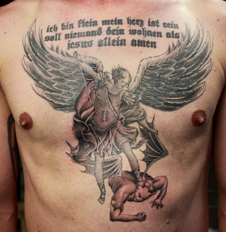 Fantastic Black Color Ink Angel Vs Evil Tattoo Design On Chest For Boys