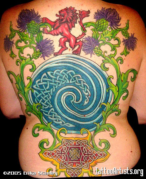 Fantastic Green Blue And Black Color Ink Celtic Spiral Circle Tattoo On Back For Girls