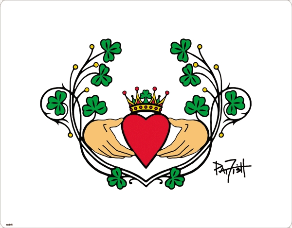 Fantastic Green Red And Black Color Ink Claddagh Tattoo Design For Girls