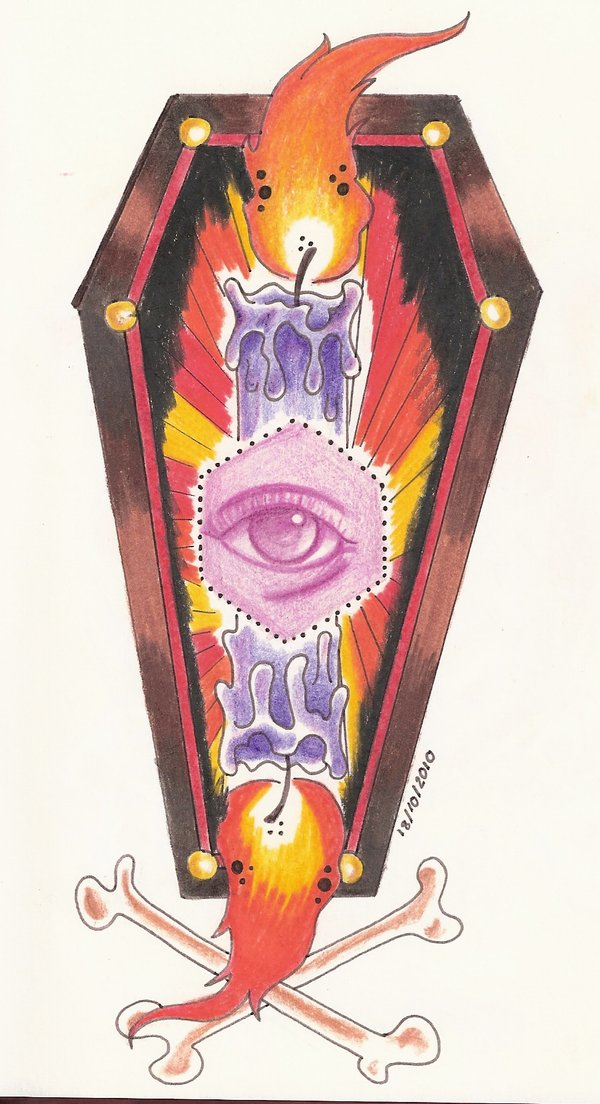 Fantastic Yellow Blue Black And Red Color Ink Eye Candle & Coffin Tattoo Design For Girls