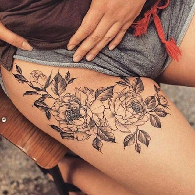 Flower Tattoo On Thigh For Women