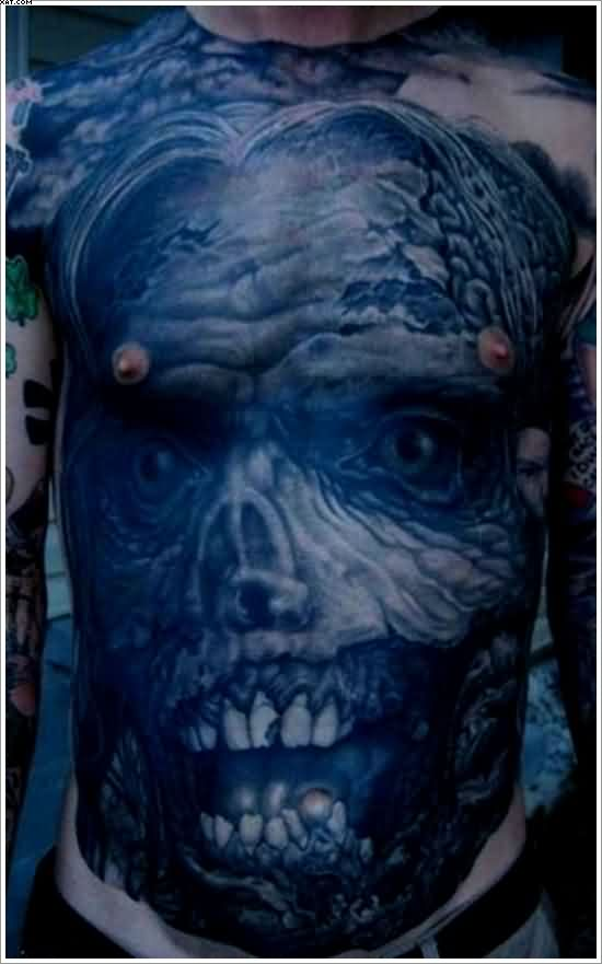 Full Upper Body Zombie Tattoo With Blue Ink