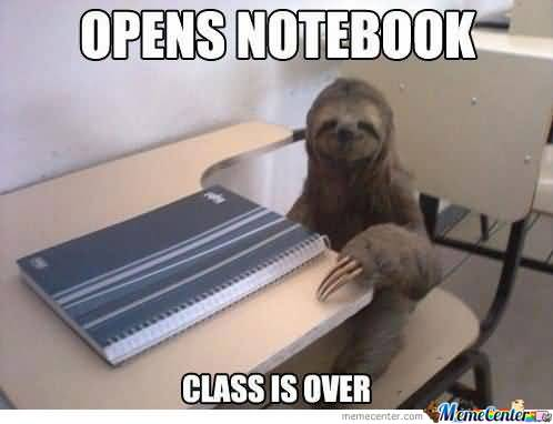 Funny Sloth Whisper Memes Opens notebook class is over