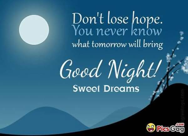 Goodnight Moon Quotes Don't lose hope you never know what tomorrow will bring good night sweet dreams