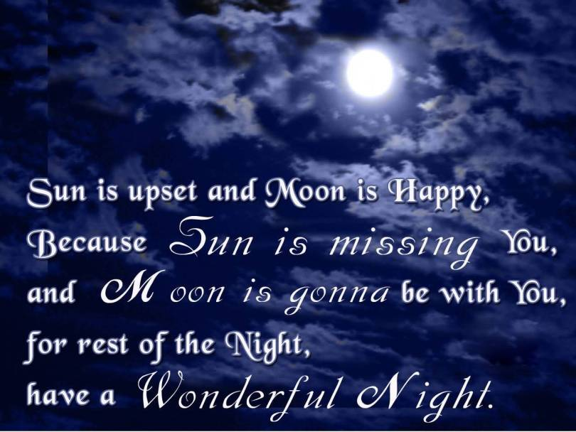 Goodnight Moon Quotes Sun is upset and moon is happy because sun is missing you