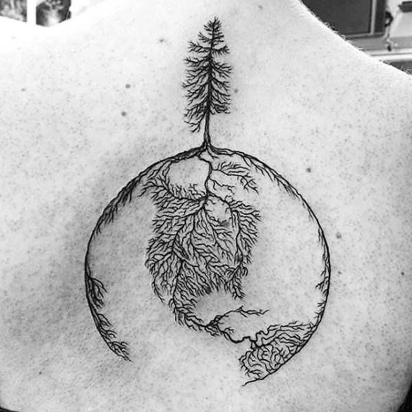 Gorgeous tree roots globe upper back tattoo design for guys with black ink for man and woman