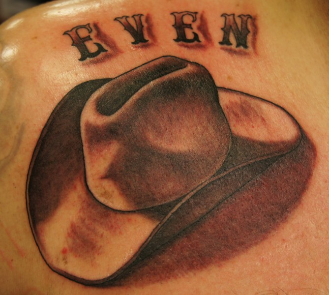Great Black And Red Color Ink Cowboy Hat Tattoo Design For Boys