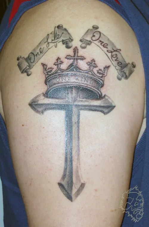 Great Black And Red Color Ink Crown Cross Tattoo On Biceps For Boys