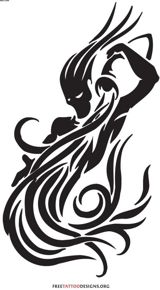 Great Black Color Ink Aquarius Tattoo For Boys