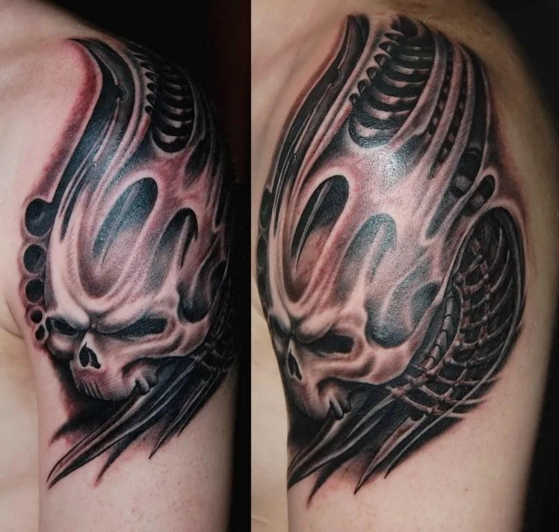Great Black Grey Color Ink Biomechanical Skull Tattoo On Shoulder For Boys