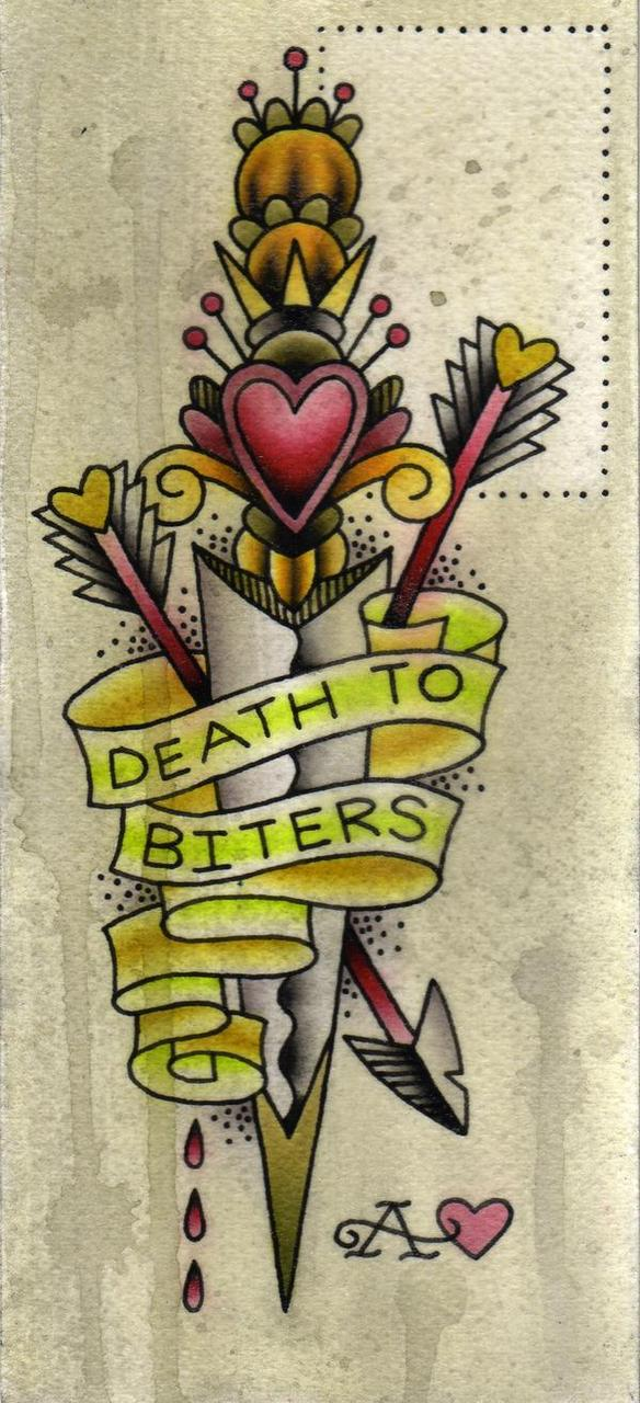 Great Green Yellow Red And Black Color Ink Death To Biters Dagger Tattoo Graphic For Boys