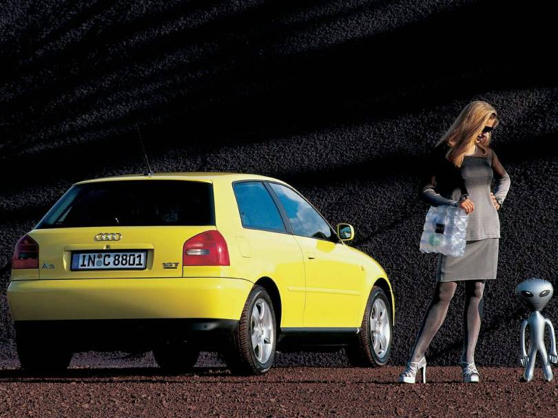 Great view of yellow Audi A3 car