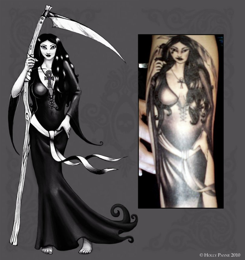 Groovy Black Color Ink Death Woman Tattoo Design For Girls
