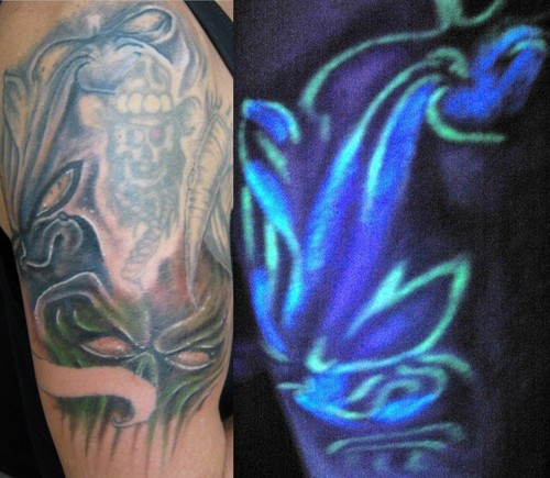 Groovy Blue And Green Color Light Blacklight Tattoo On Shoulder For Boys