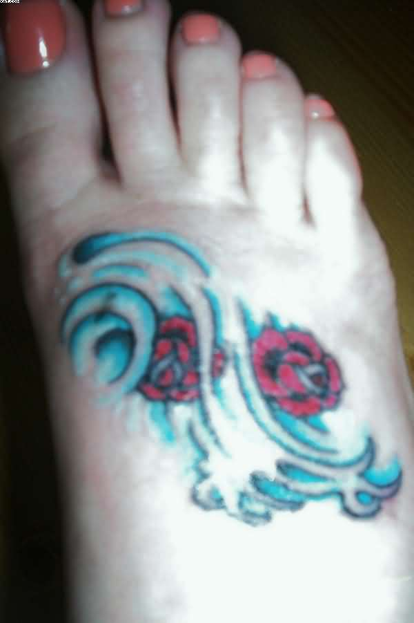 Groovy Blue And Red Color Ink Aquarius Tattoo On Foot For Girls
