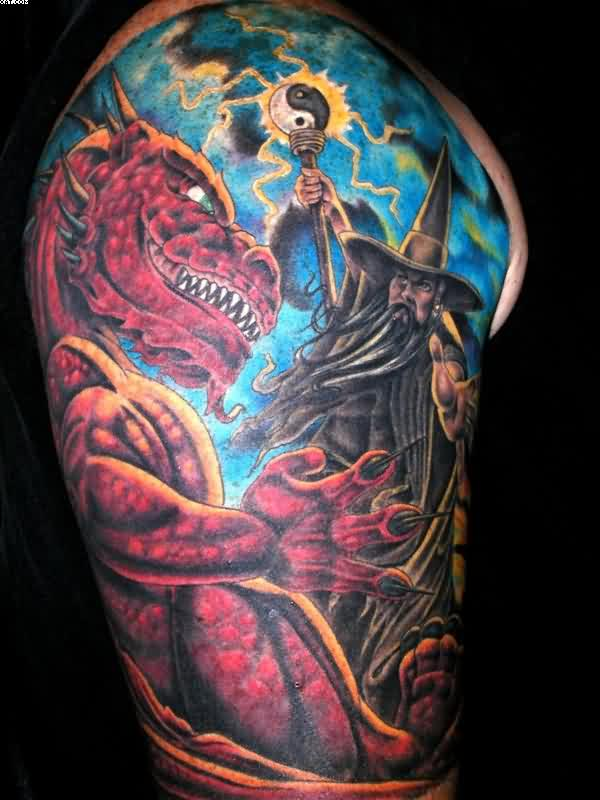 Half Sleeve Wizard Tattoo With Red Dragon Fight