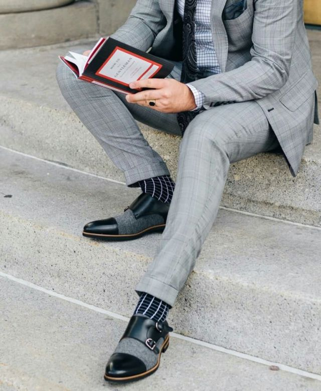 Handsome Men With Amazing Suit And Black Leather Shoe