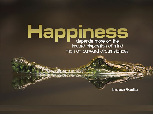 Happiness depend more on the inward disposition of mind than on outward circumstances Benjamin Franklin