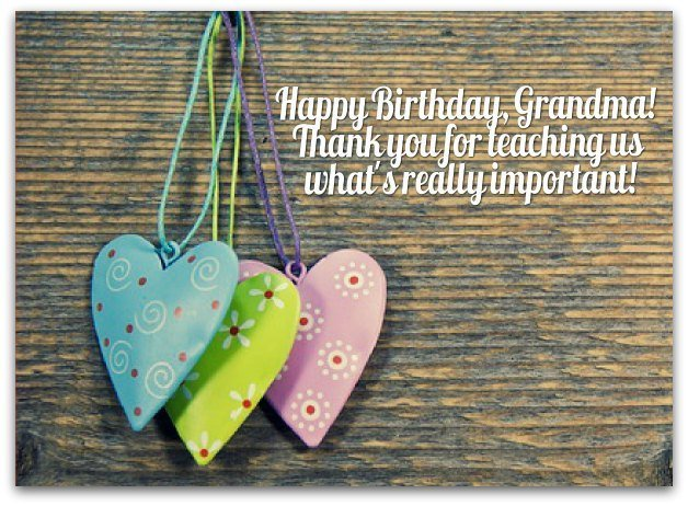 Happy Birthday Grandma Thank You for Teaching Us Message Image