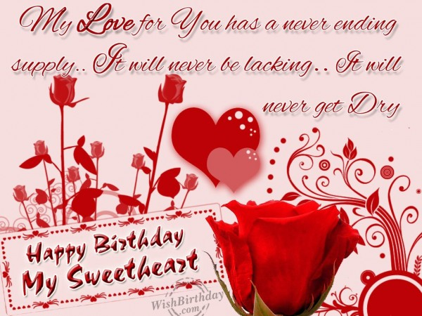 Sweetheart Birthday Wishes Happy Birthday My Sweetheart Greetings Image