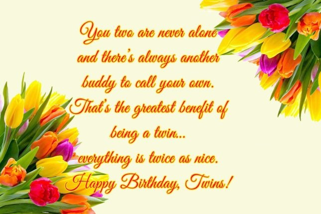 Happy Birthday Twins Have A Great Day Wishes Message Image