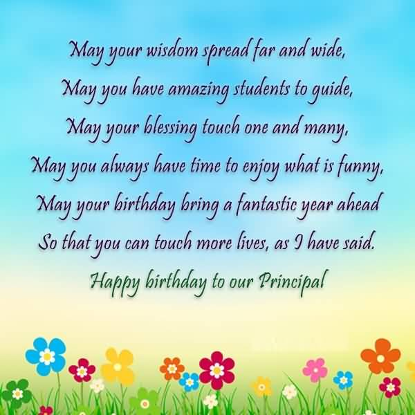 Have Amazing Student To Guide Happy Birthday To Our Principal Greeting Poem