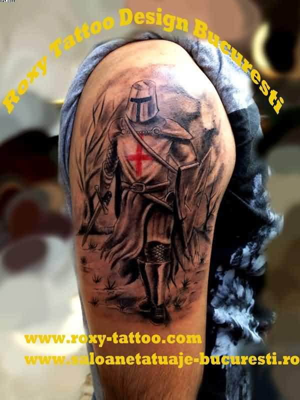 Horrible Black And Red Color ink Army Medical Man Tattoo For Boys On Shoulder