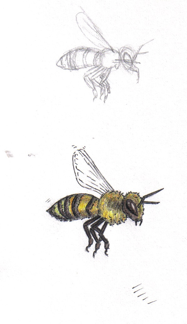 Horrible Black And Yellow Color Ink Bumblebee Tattoo Designs For Girls